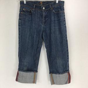 7FAM 27 Cuffed Capri Jeans Medium Wash